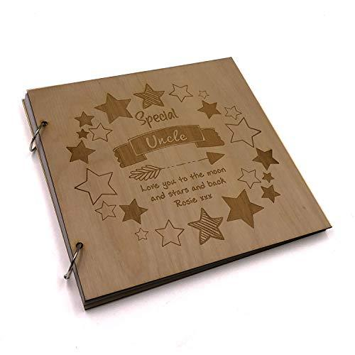 ukgiftstoreonline Personalised Special Uncle Engraved Large Wooden Scrapbook Photo Album - ukgiftstoreonline