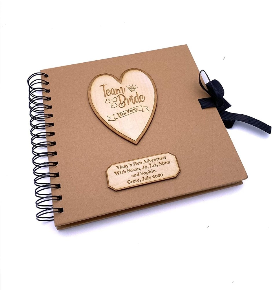 ukgiftstoreonline Personalised Team Bride Hen Party Scrapbook Photo Album With Wooden Engraving - ukgiftstoreonline