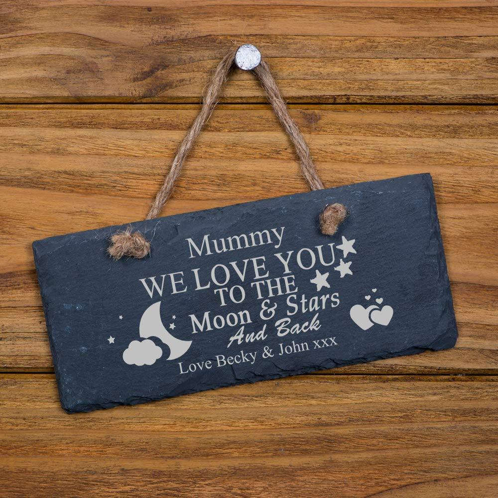 ukgiftstoreonline Personalised We Love You To The Moon any engraving Slate Plaque Gift - ukgiftstoreonline