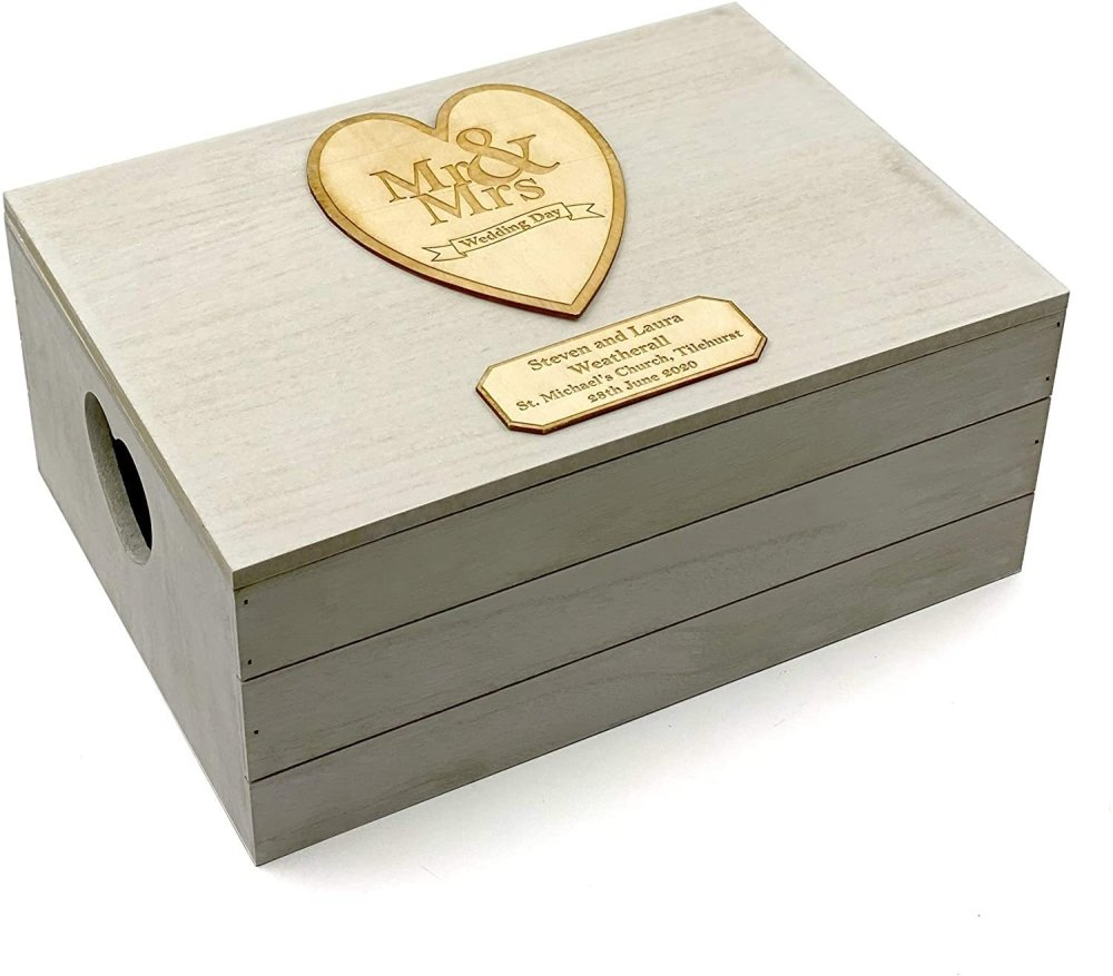ukgiftstoreonline Personalised Wedding Gift Antique Wooden Keepsake Memory Crate Box - ukgiftstoreonline