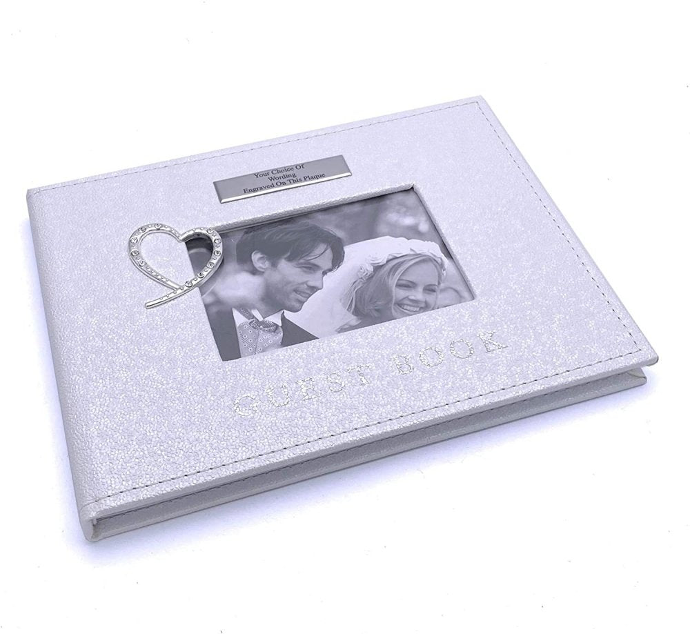 ukgiftstoreonline Personalised Wedding Guest Book Gift With Raised Diamante Heart - ukgiftstoreonline