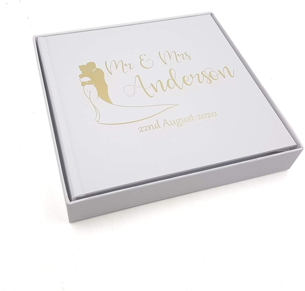 ukgiftstoreonline Personalised Wedding Photo Album Keepsake Gift Boxed Gold Finish - ukgiftstoreonline