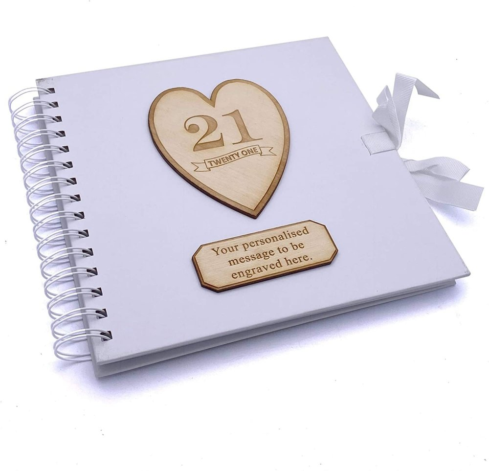 ukgiftstoreonline Personalised White Birthday Guest Book Scrapbook Photo album Wooden Engraving 13th, 16th, 18th, 21st, 30th, 40th, 50th, 60th, 70th, 80th, 90th - ukgiftstoreonline