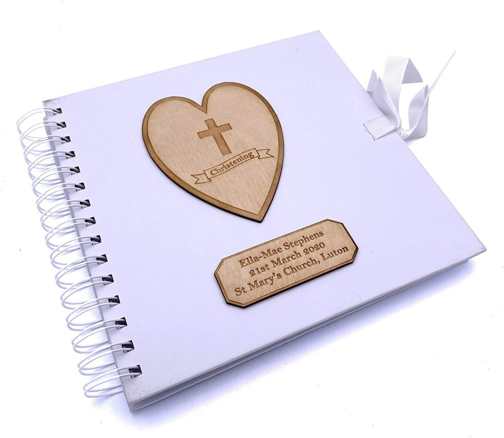 ukgiftstoreonline Personalised White Christening Day Guest Book With Wooden Engraving - ukgiftstoreonline