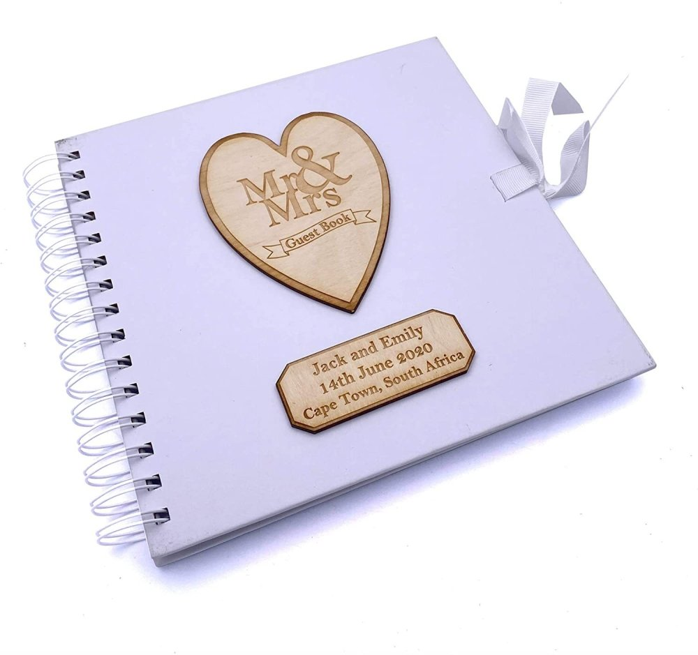 ukgiftstoreonline Personalised White Wedding Guest Book Wooden Engraving Mr and Mrs - ukgiftstoreonline