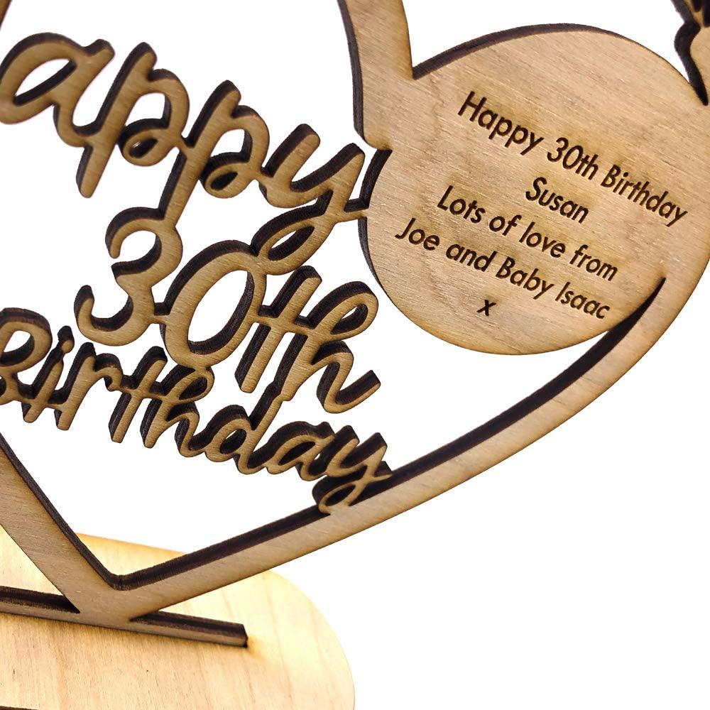 ukgiftstoreonline Personalised Wooden Freestanding Heart Birthday Gift For Her With Message 13th, 16th, 18th, 21st, 30th, 40th, 50th, 60th, 70th - ukgiftstoreonline