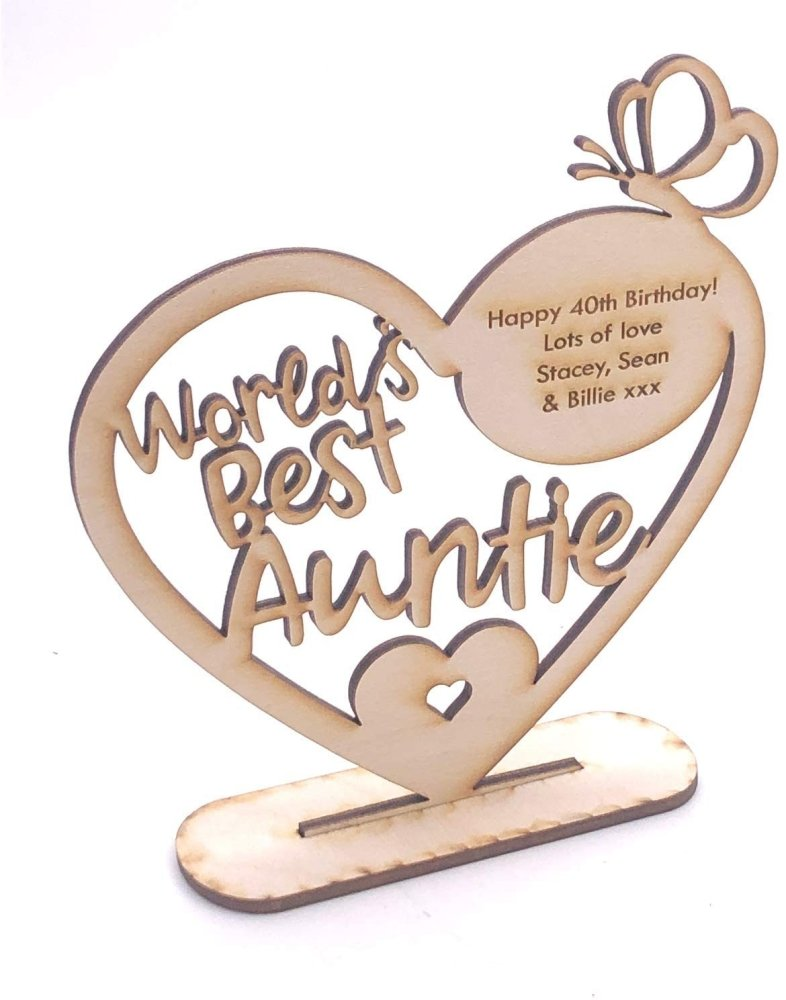 ukgiftstoreonline Personalised Wooden Freestanding Heart Gift For Auntie With Message - ukgiftstoreonline