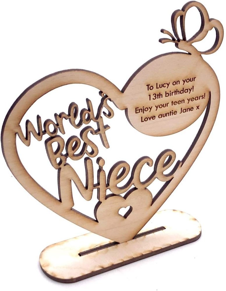 ukgiftstoreonline Personalised Wooden Freestanding Heart Gift For Niece With Message - ukgiftstoreonline