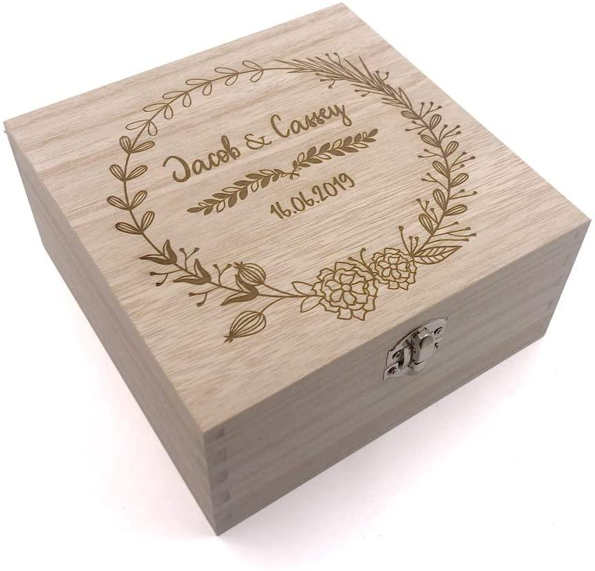 ukgiftstoreonline Personalised Wooden Keepsake Box Wedding Memory Engraved Gifts Any Name - ukgiftstoreonline