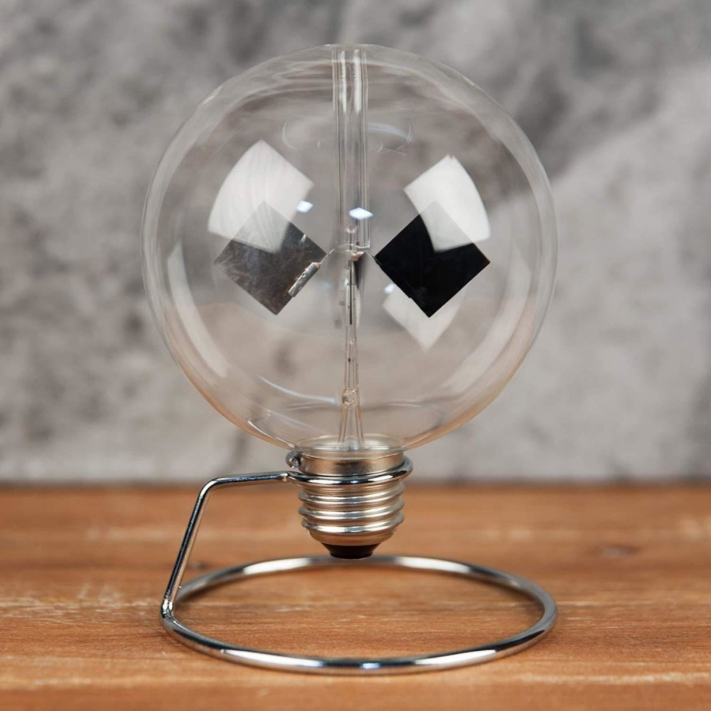 ukgiftstoreonline Radiometer Solar Crookes Lightmill Clear Sphere Light Bulb Design On Stand - ukgiftstoreonline