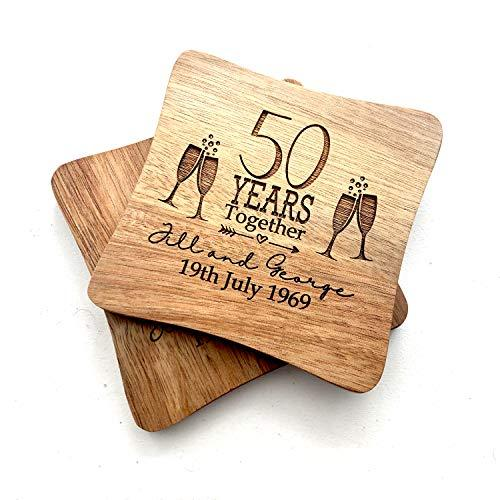 ukgiftstoreonline Set Of Two Personalised Wedding Anniversary Coasters Gift 5th, 10th, 25th, 30th, 40th, 50th, 60th anniversary - ukgiftstoreonline