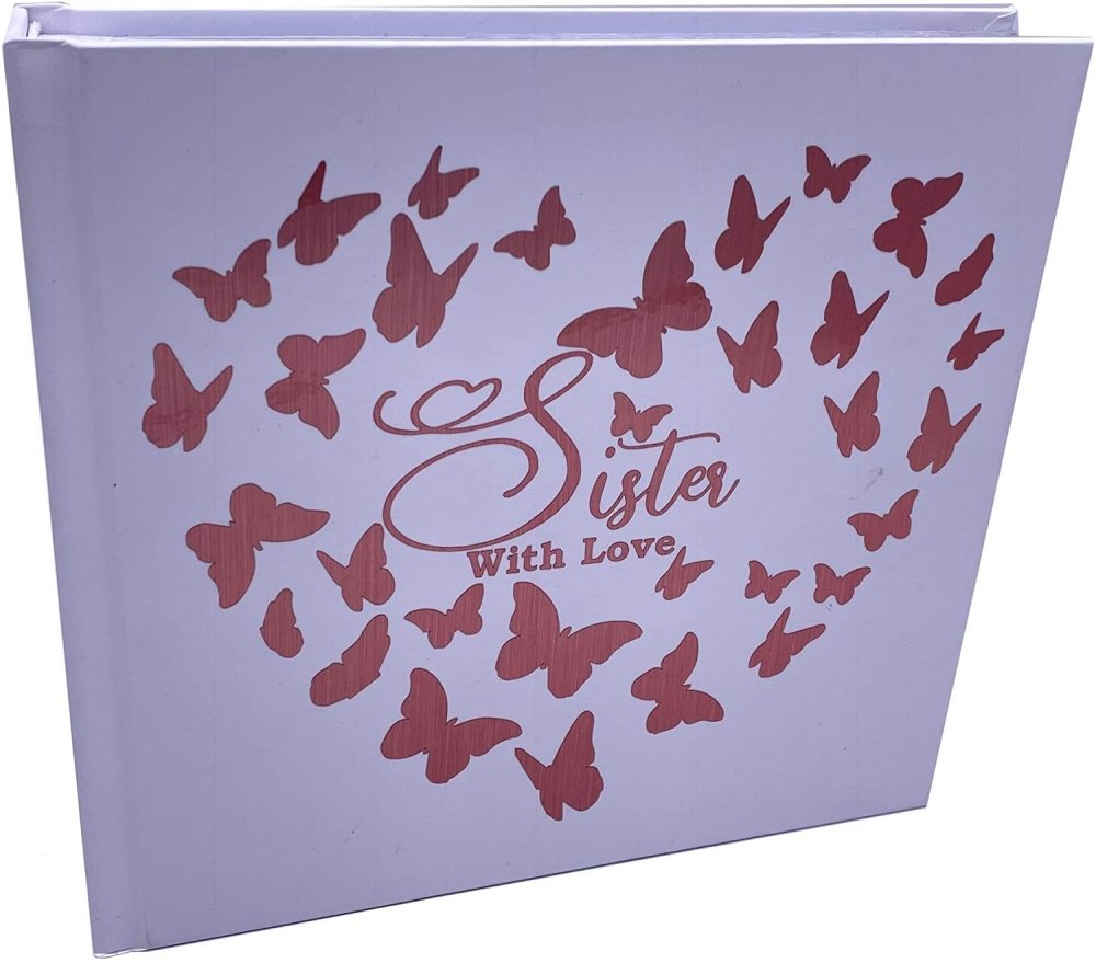 ukgiftstoreonline Sister With Love Photo Album Keepsake Gift Butterfly Rose Gold Design - ukgiftstoreonline
