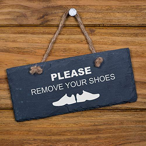 ukgiftstoreonline Slate Hanging Sign 'Please Remove Your Shoes' - ukgiftstoreonline