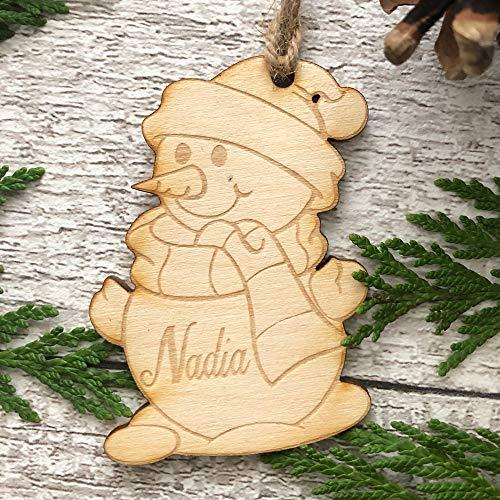 ukgiftstoreonline Snowman Shaped personalised Wooden Christmas Tree Decoration Bauble - ukgiftstoreonline