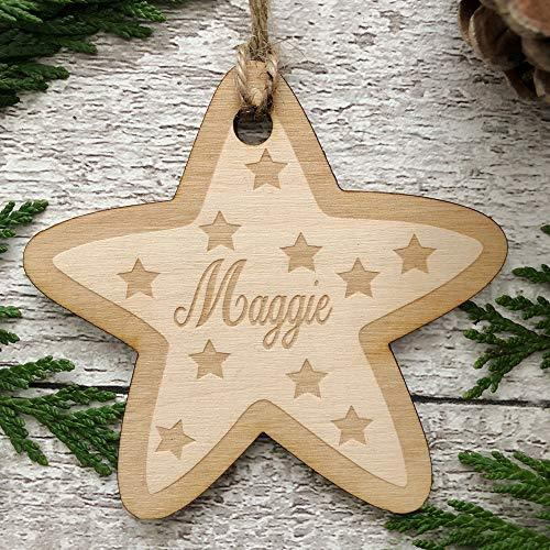 ukgiftstoreonline Star Shaped personalised Wooden Christmas Tree Decoration Bauble - ukgiftstoreonline