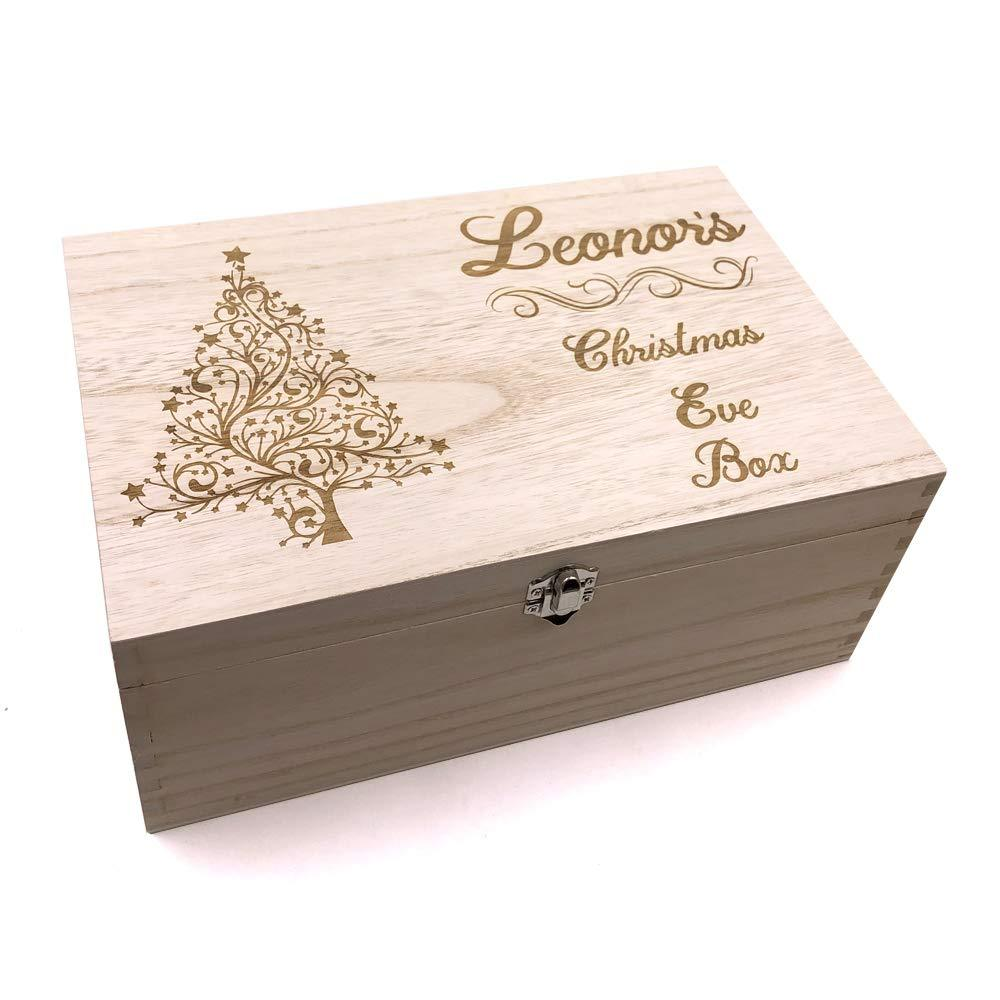 ukgiftstoreonline Swirly Tree Design Personalised Wooden Christmas Eve Box - ukgiftstoreonline