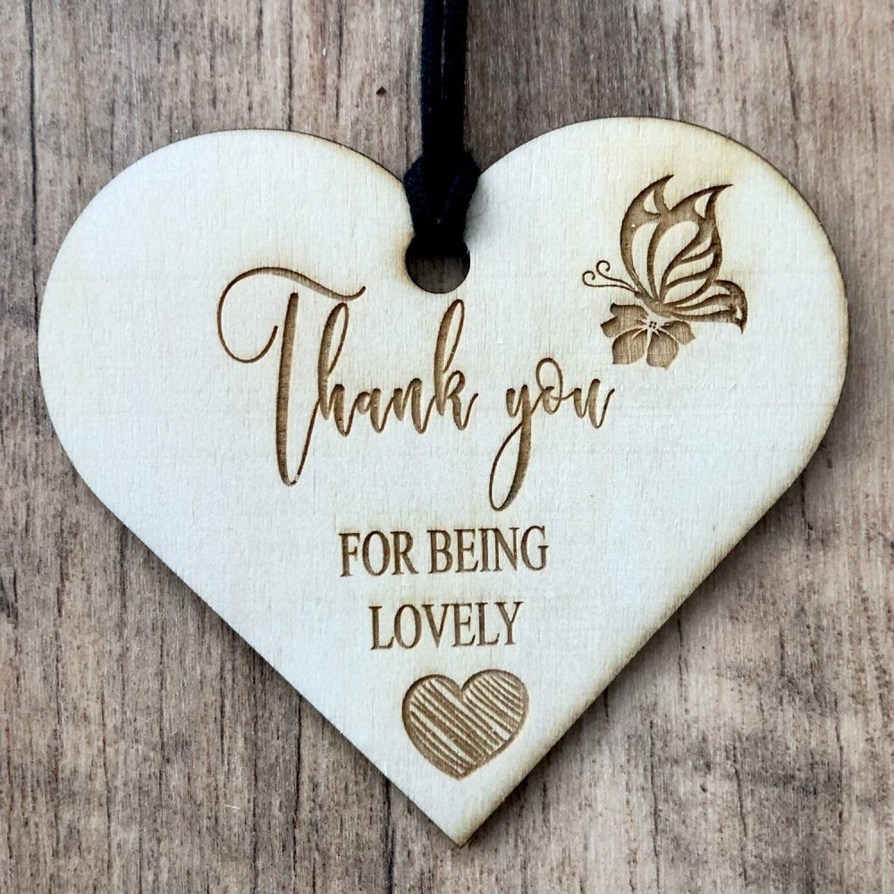 ukgiftstoreonline Thank You For Being Lovely Engraved Plaque Wooden Heart Gift - ukgiftstoreonline
