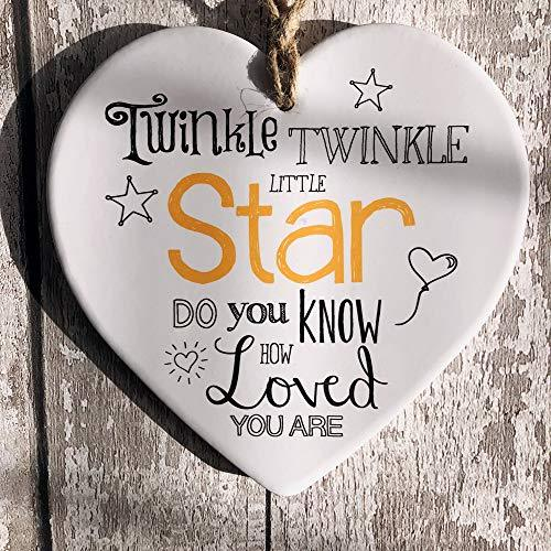 ukgiftstoreonline Twinkle Twinkle Little Star Baby verse large ceramic heart plaque gift - ukgiftstoreonline