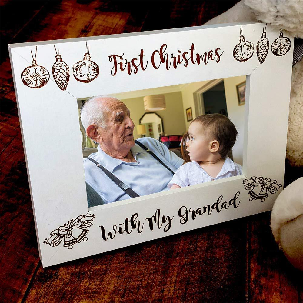 ukgiftstoreonline White Wooden First Christmas With Grandad Photo Frame Gift - ukgiftstoreonline