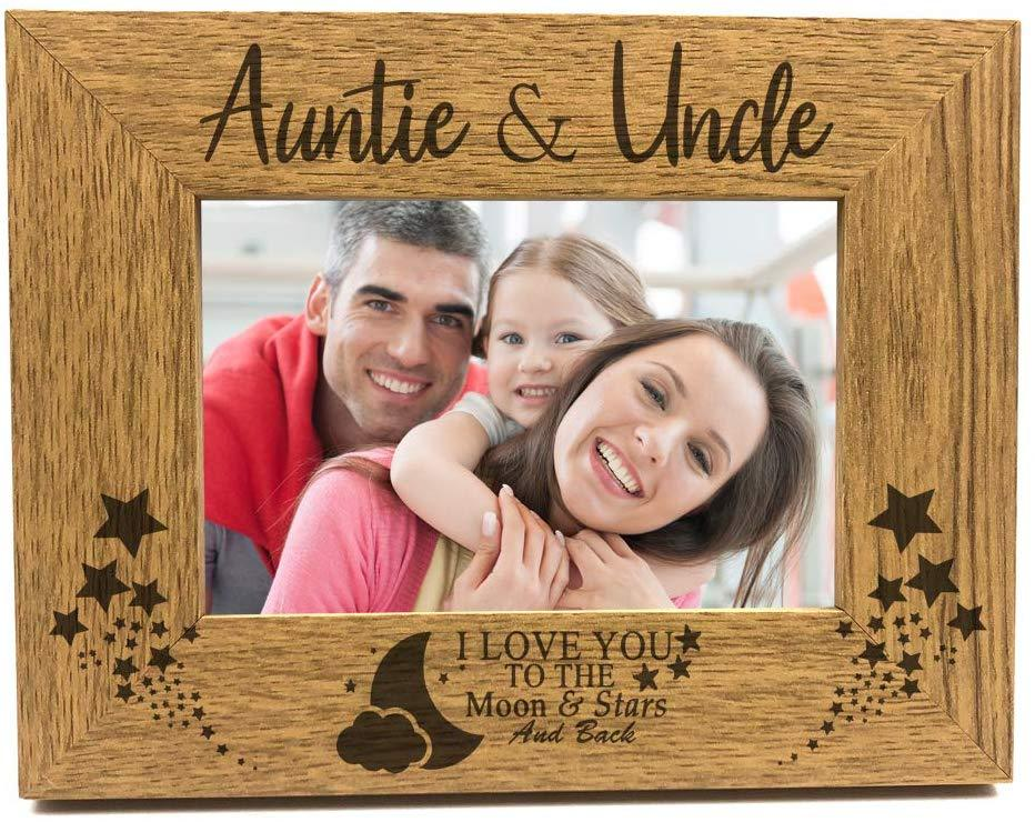 ukgiftstoreonline Wooden Engraved Auntie and Uncle Photo Picture Frame Gift Idea - ukgiftstoreonline