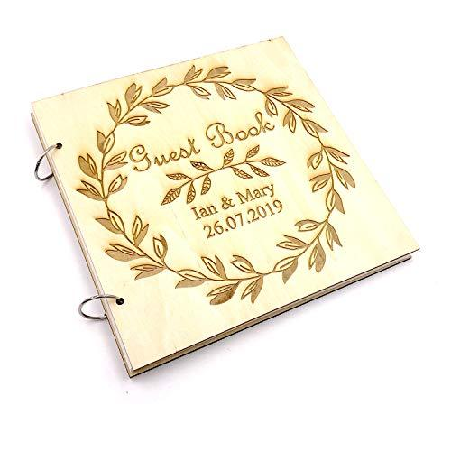 ukgiftstoreonline Wreath Design Personalised Engraved Large Wooden Guest Book Wedding Birthday etc - ukgiftstoreonline