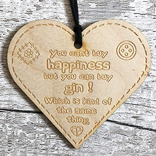 ukgiftstoreonline You can't buy happiness you can buy gin Button Range Wood Heart Gift - ukgiftstoreonline