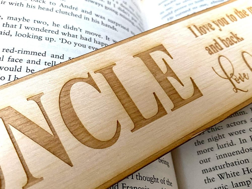 Uncle Gift Personalised Wooden Engraved Bookmark - ukgiftstoreonline