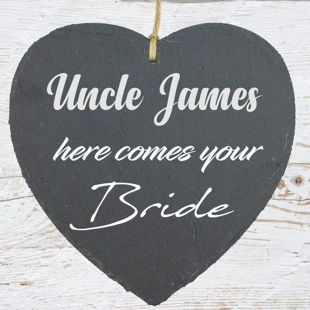 Uncle Here Comes Your Bride Large Slate Heart Personalised Plaque - ukgiftstoreonline