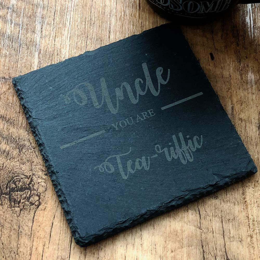 Uncle You are 'Tea-riffic' Slate Coaster Gift - ukgiftstoreonline