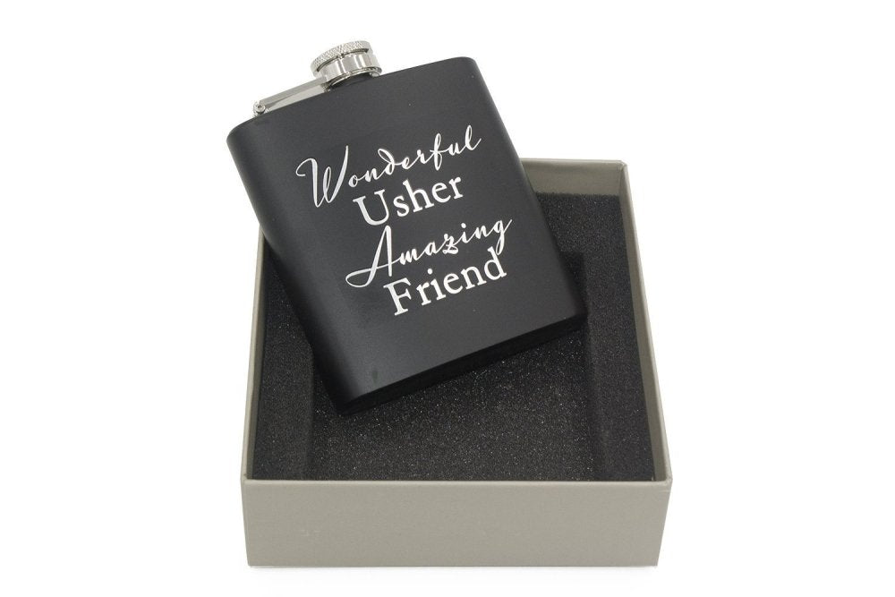 Usher Boxed Hip Flask Wedding Day Gift and Gift Bag - ukgiftstoreonline