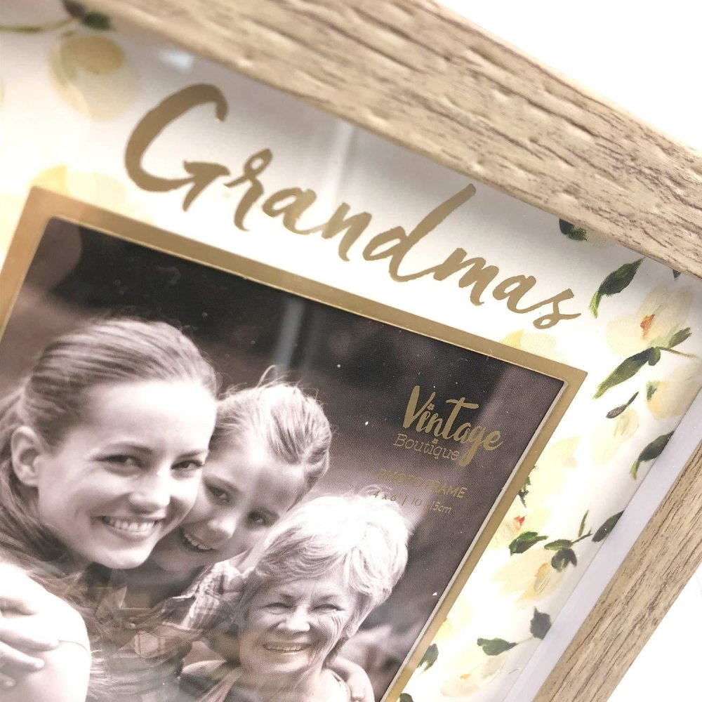 VINTAGE BOUTIQUE STYLE FLORAL PHOTO FRAME - GRANDMA GIFT - ukgiftstoreonline