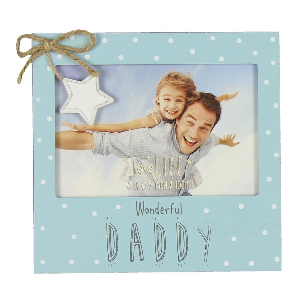 Vintage Wooden Wonderful Daddy Photo Frame Gift - ukgiftstoreonline