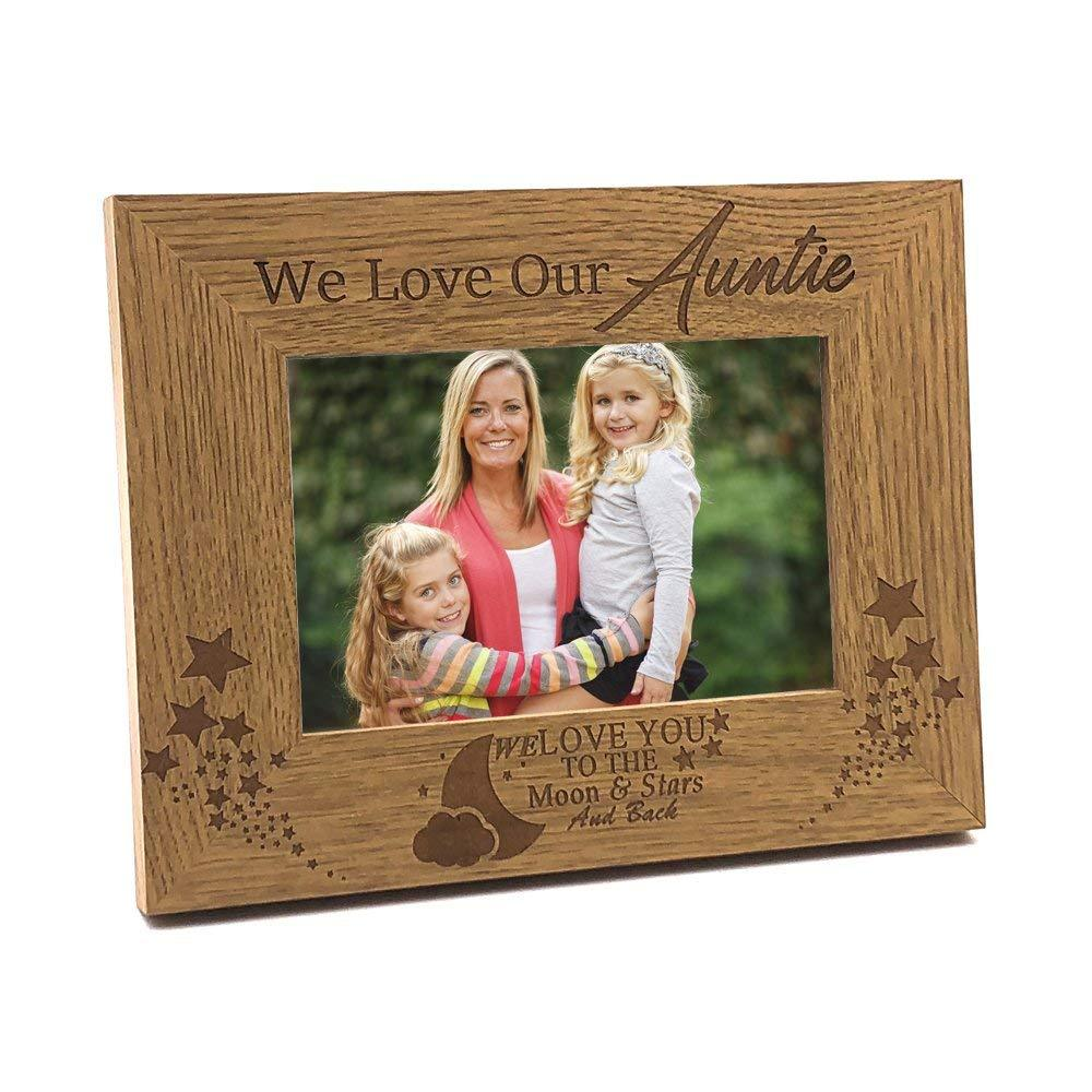 We Love Our Auntie To The Moon and Back Wooden Photo Frame Gift - ukgiftstoreonline
