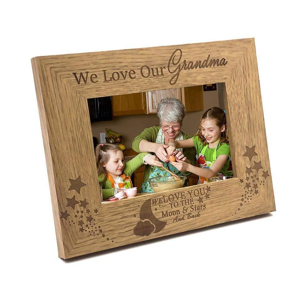 We Love Our Grandma To The Moon and Back Wooden Photo Frame Gift - ukgiftstoreonline