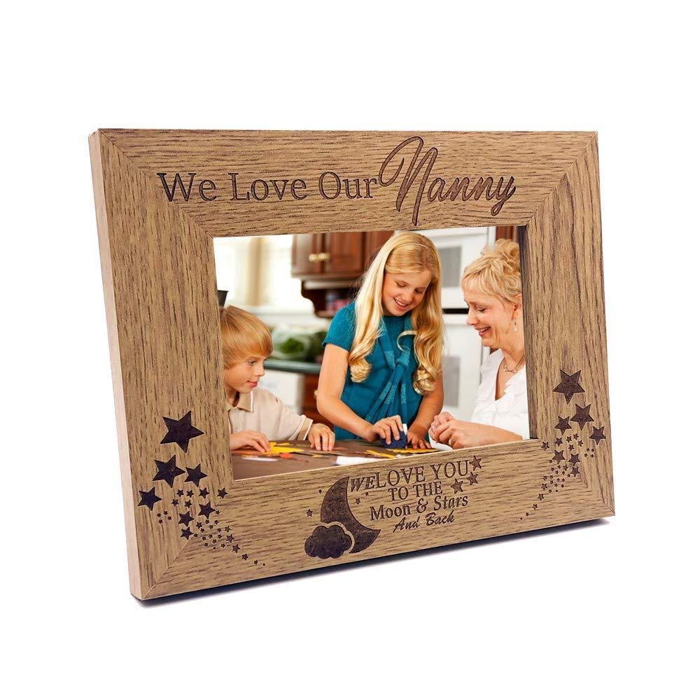 We Love Our Nanny To The Moon and Back Wooden Photo Frame Gift - ukgiftstoreonline