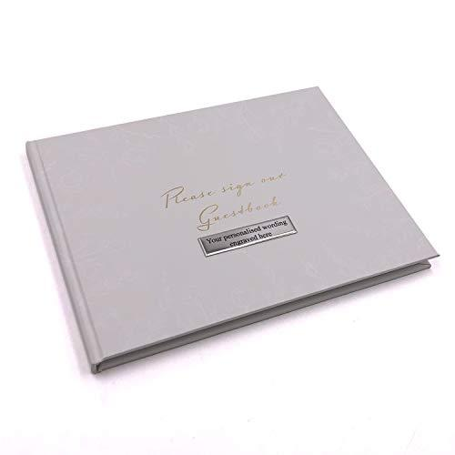 Wedding Guest Book Personalised Pastel Grey Floral Design - ukgiftstoreonline