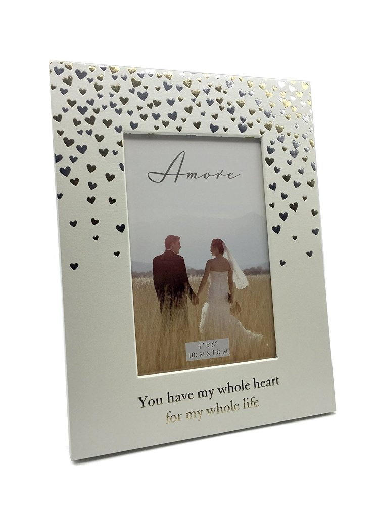 Wedding Photo Frame With Sentiments Gold and Silver Heart Design - ukgiftstoreonline