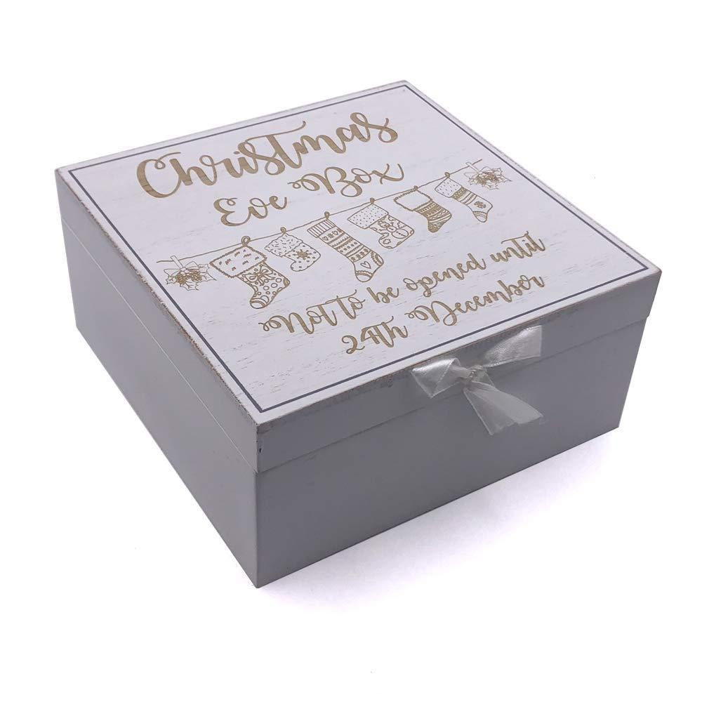 White Christmas Eve Wooden Keepsake Box - ukgiftstoreonline