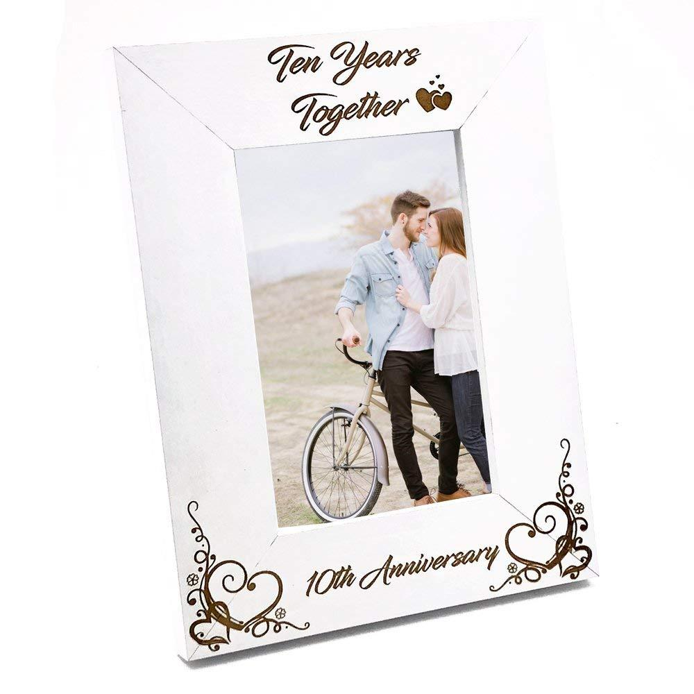 White Wooden 10th Anniversary Photo Frame Gift - ukgiftstoreonline