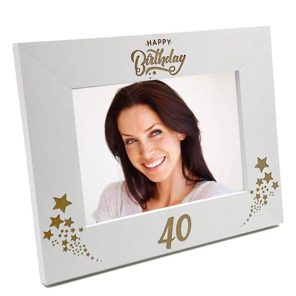 White Wooden 40th Birthday Photo Frame Gift C48W125 - ukgiftstoreonline