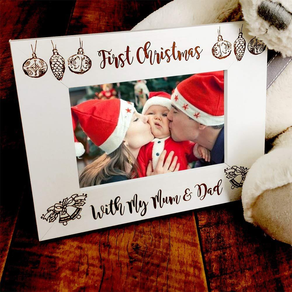 White Wooden First Christmas With Mum and Dad Photo Frame Gift - ukgiftstoreonline