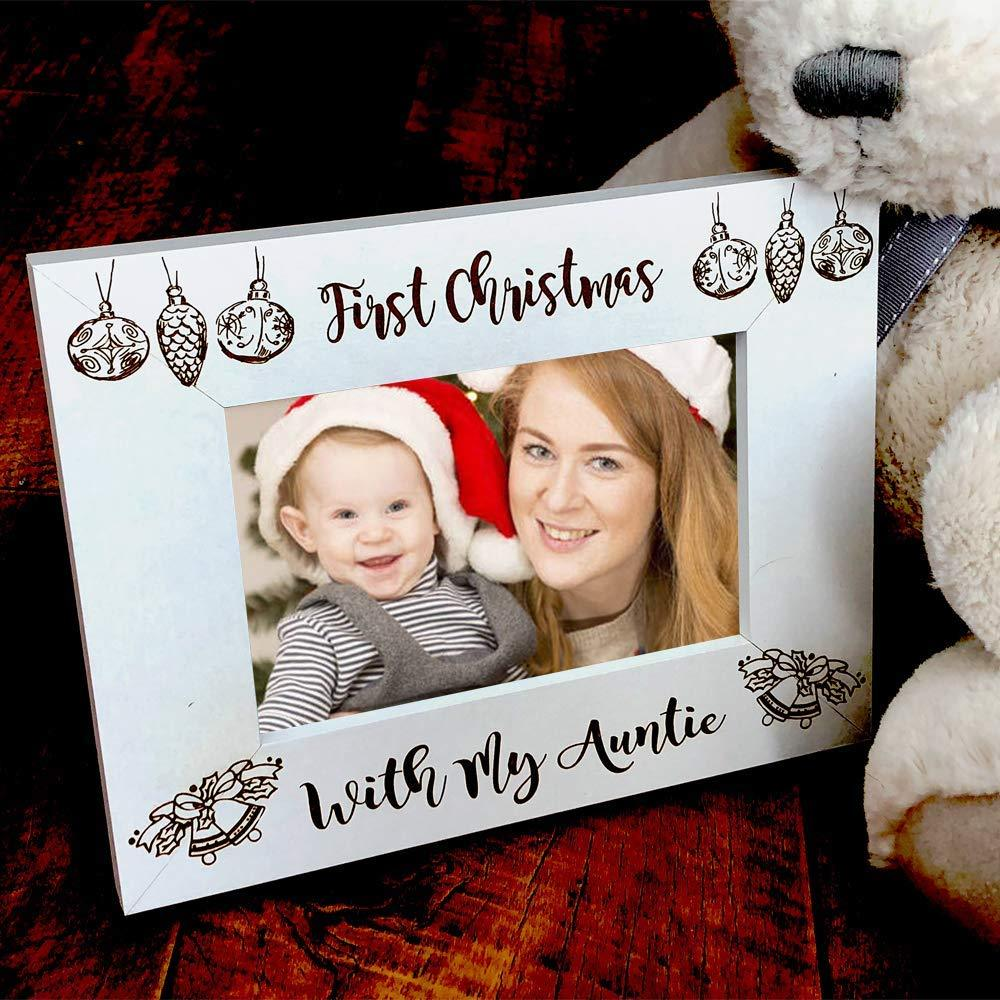 White Wooden First Christmas With My Auntie Photo Frame Gift - ukgiftstoreonline