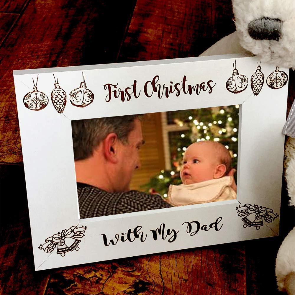 White Wooden First Christmas With My Dad Photo Frame Gift - ukgiftstoreonline