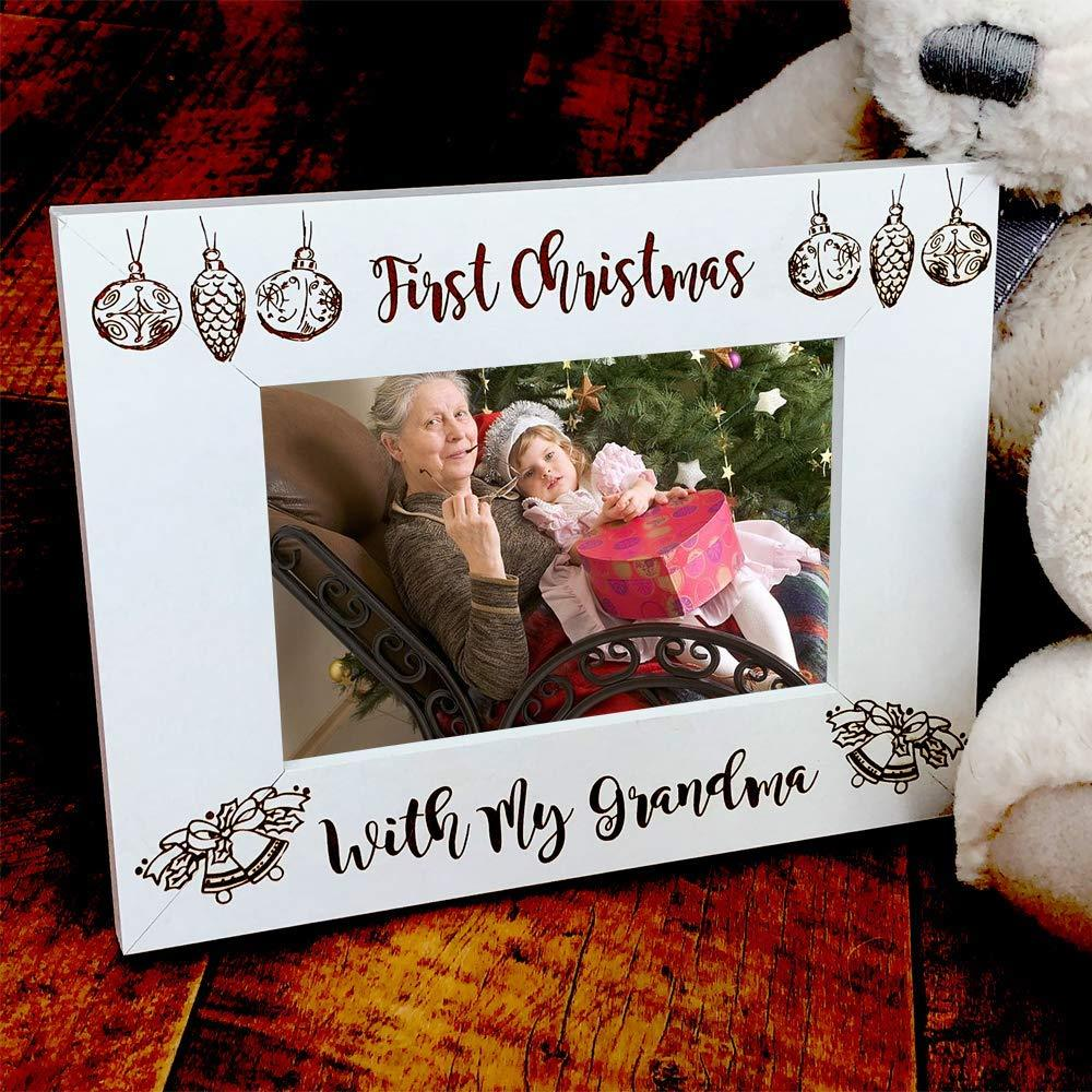 White Wooden First Christmas With My Grandma Photo Frame Gift - ukgiftstoreonline
