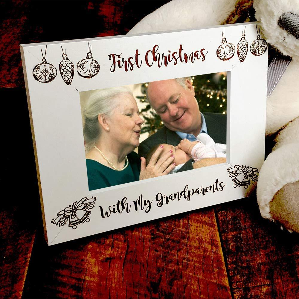 White Wooden First Christmas With My Grandparents Photo Frame Gift - ukgiftstoreonline