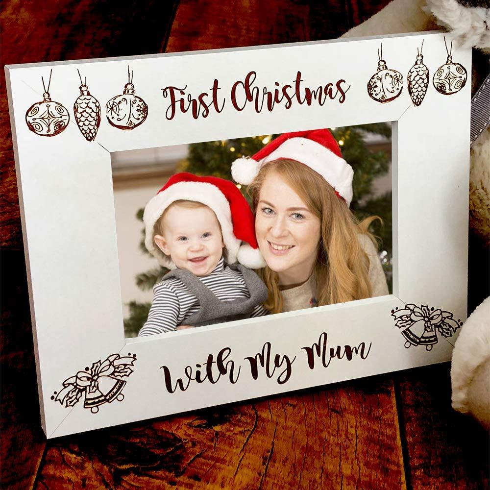 White Wooden First Christmas With My Mum Photo Frame Gift - ukgiftstoreonline