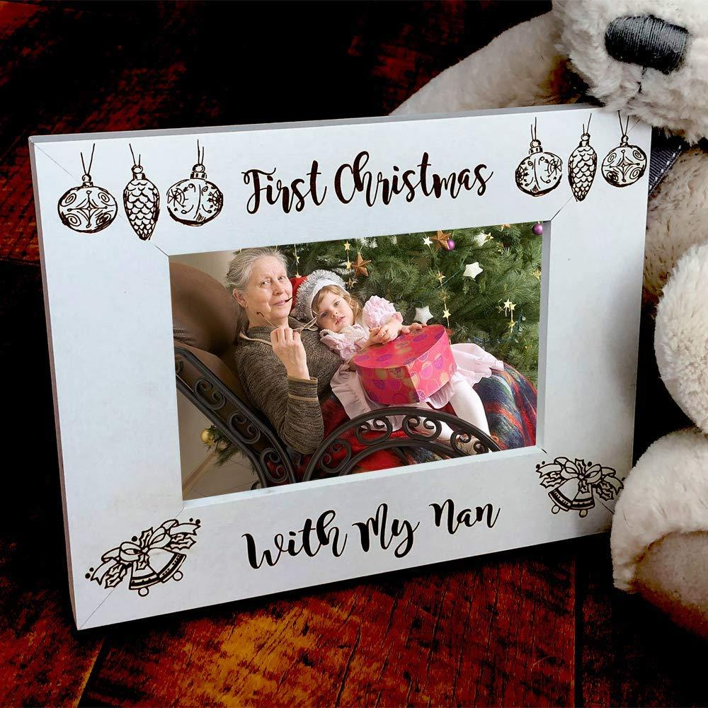 White Wooden First Christmas With My Nan Photo Frame Gift - ukgiftstoreonline