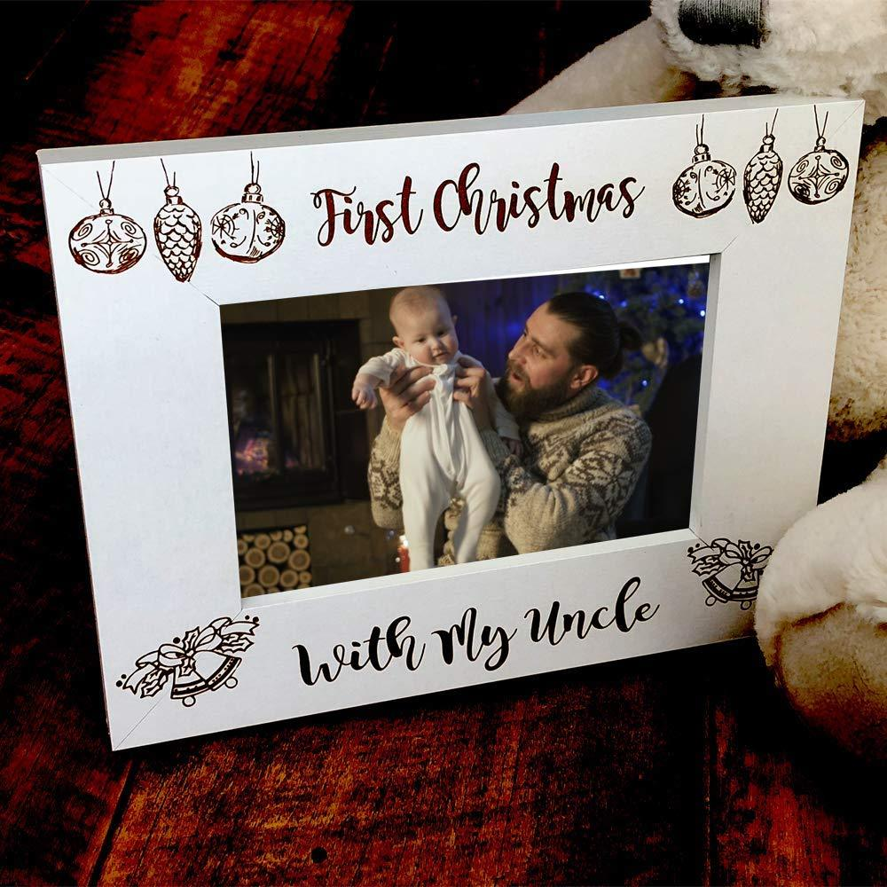White Wooden First Christmas With Uncle Photo Frame Gift - ukgiftstoreonline