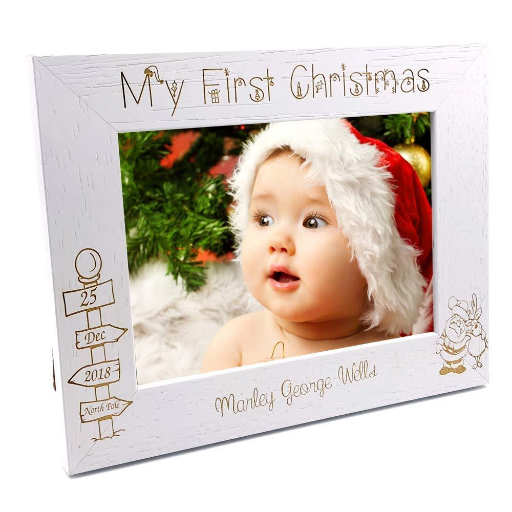 White Wooden Personalised First Christmas Photo Frame Gift - ukgiftstoreonline