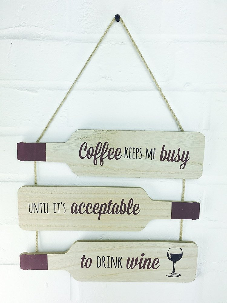 Wine Bottle Novel Sentiment Wall Hanging Plaque - Coffee - ukgiftstoreonline